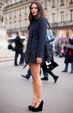 Lisa Marie Fernandez looks so chic in black and navy. #NMFallTrends