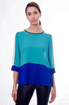 11653 Blusa Crepe Viña del Mar Verde Esmeralda + Off White + Azul Noite