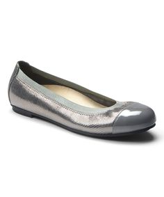 Vionic with Orthaheel Technology Pewter Lizard Allora Leather Flat | #zulilybday