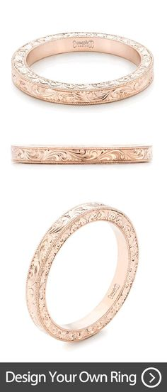 Custom Hand Engraved Rose Gold Wedding Band   Design your own wedding ring with us! This custom engraving is done by hand and is the product of our master engraver, who is one of the best engravers in the country.   Joseph Jewelry   Bellevue   Seattle   Design your own wedding ring.