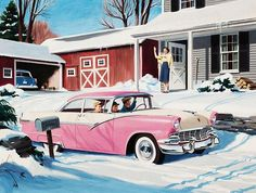 retrogasm:  I would think mom would drive the pink car… There is a blue car in the garage. The 1950s quietly toying with gender roles… On the other hand Homer Simpson drives a pink car. I would too…