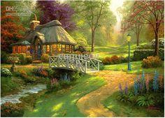 Thomas Kinkade Art Oil Paintings Prints Canvas Summer Cottage ...