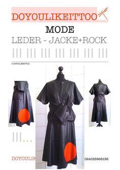 UNIKAT von DOYOULIKEITTOO : LEDERJACKE,GÜRTEL + ROCK, schwarz/rot, Größe 36/38,