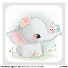Cute Cartoon Elephant And Balloons Illustration Cute Elephant Drawing, Baby Animal Drawings, Cute Drawings, Unicorn Drawing, Colorful Elephant, Little Elephant, Cartoon Mignon, Baby Animals, Cute Animals