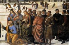 Pietro Perugino: Delivery of the Keys (Christ Handing the Keys to St. Peter) 1481-1482: [Early Renaissance; Rome, Italy] detail