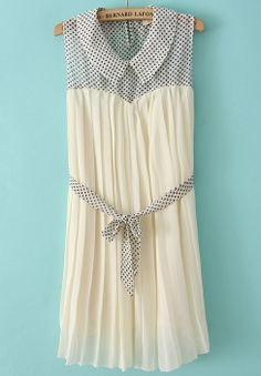 Beige Sleeveless Contrast Polka Dot Pleated Dress -