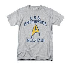 Star Trek Men's Gray Collegiate Arch Tee Shirt