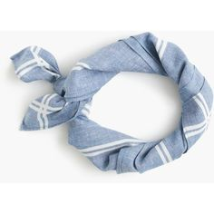 J.Crew Chambray Bandana With Striped Border ($15) ❤ liked on Polyvore featuring accessories, scarves, j crew scarves, bandana scarves and tie scarves