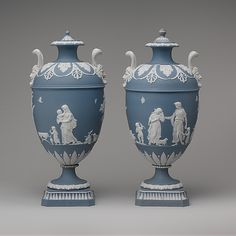Josiah Wedgwood (British, 1730–1795). Vase with cover (one of a pair), ca. 1780–1800. Decoration after designs by John Flaxman (British, 1755–1826) and Lady Templetown (before 1759–1823, active 1777–83). British, Etruria, Staffordshire. The Metropolitan Museum of Art, New York. Gift of Frank K. Sturgis, 1932 (32.95.12a, b)