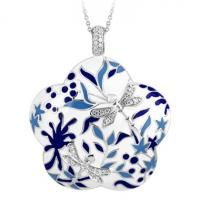 Porcelain Cobalt Pendant by Belle Etoile. 925 Sterling Silver. Fashion Jewelry. Blue and white Italian enamels.