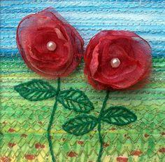 Unique handmade fabric flower card  pink organza by StitchMikki