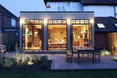 The substantial extension on this detached house features bespoke art deco style steel French doors which adds to the striking structural elements of the room. House Extension Plans, House Extension Design, Extension Designs, Roof Extension, Extension Ideas, Wraparound Extension, Art Deco Stil, Art Deco Home, Victorian Terrace