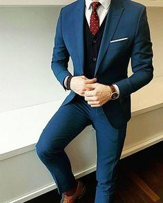 Men's style men's navy suit, black sweater vest, burgundy polka dot tie Body Jewelry and Today's Sta Mens Fashion Suits, Mens Suits, Womens Fashion, Style Masculin, Designer Suits For Men, Herren Outfit, Suit And Tie, Gentleman Style, Menswear