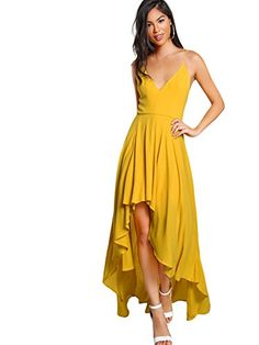 03310a49c36b9 High Low Draped Party Dress Sexy Backless Women V Neck Yellow A Line Dresses  Cross Slip Maxi Dress