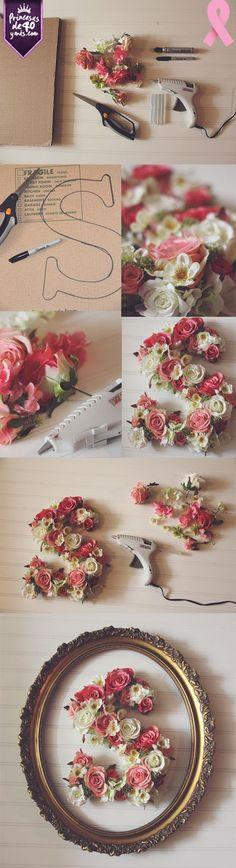Con esta idea puedo personalizar todas las habitaciones de mi casa. Linda idea. #diy #flowers #cute #PrincesasDe40