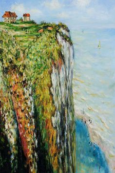 'Cliff at Dieppe' 1882 - Claude Monet Claude Monet, Monet Paintings, Landscape Paintings, Abstract Paintings, Artist Monet, Pierre Auguste Renoir, Pierre Bonnard, Manet, Edgar Degas