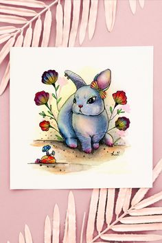 Original art, watercolor painting, hand painted, illustration, surrealism, Easter, perfect gift, animal art, fantasy, whimsical, colorful, home decor, floral Hand Illustration, Watercolor Illustration, Watercolor Print, Watercolor Paintings, Circus Characters, Iphone 6 Plus Wallpaper, Cute Easter Bunny, Ink Painting, Art Techniques