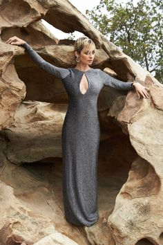 Nicole Richie in a gorgeous long-sleeved, keyhole-neck, metallic gown from her most recent House of Harlow collection.
