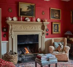 The interiors of Beckside House | House & Garden Regency House, Adams Homes, West Home, Georgian Homes, Red Rooms, Red Interiors, Red Paint, Reception Rooms, Interior Inspiration