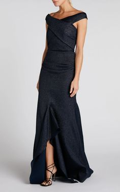 Ray Off the Shoulder Gown in Navy Lurex Draping Techniques, Blue Gown, Roland Mouret, Back Strap, Full Figured, Suits You, Formal Wear, Off The Shoulder, Gowns