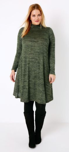 f60d825556420 Plus Size Turtle Neck Swing Dress. Own Good investment