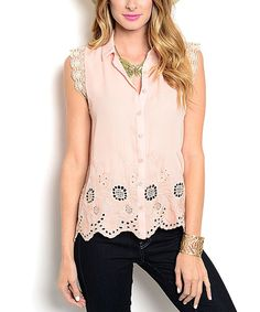 Loving this Salmon Lace Button-Up Top on #zulily! #zulilyfinds