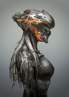Mech Helmet by GeniusFetus on DeviantArt Arte Ninja, Arte Robot, Robot Art, Female Character Design, Character Concept, Character Art, Arte Cyberpunk, Robot Concept Art, Armor Concept