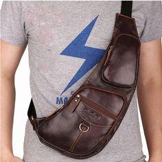 Genuine Leather Crossbody Bag Cowhide Shoulder Bag Casual Chest Bag For Men - US$38.06