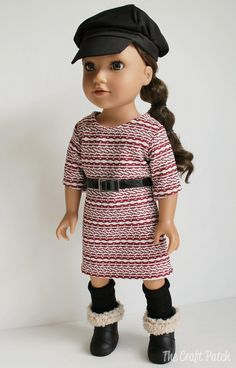 Free pattern for 18 inch doll dress...with options for tunic, maxi, or knee-length dress with short, 3/4, or long sleeves. So many looks with one pattern! #americangirldoll #18inchdoll