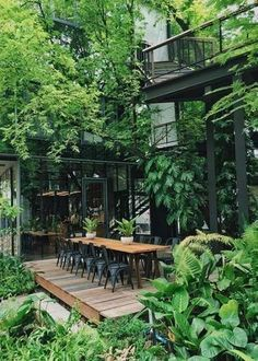 Garden architecture, Home garden design, Small backyard landscaping, Indoor garden, Architecture hou Garden Types, Home Garden Design, Home And Garden, Amazing Gardens, Beautiful Gardens, Café Exterior, Exterior Stairs, Exterior Design, Exterior Cladding