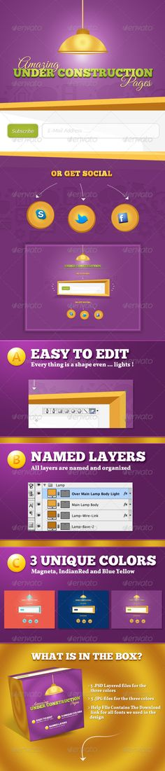 3 Under Construction Pages  #GraphicRiver         3 .PSD files contains Illustration PS Shaped Design suitable for Under Construction Pages with a subscriptions form and social icons (Facebook – Twitter – Skype) with width 1600 px. Highly detailed shapes, all layers and shapes are editable for both (size and colors) without losing the beauties of the design, Also the package contains three different colors (Magneta, IndianRed and Blue Yellow). All Layers are named.   Fonts— 1) ChunkFive…