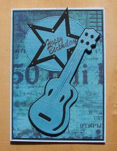 """carte anniversaire guitare noire et bleue message """"Happy Birthday"""" : Cartes par cdine08-aux-cartes-de-sandrine"""