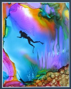 Underwater Diver. Alcohol Inks on Yupo paper by Cindy Howe. ArtworksEclectic - Etsy