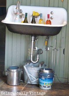 Old sink turned wine cooler