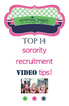 Promoting your sorority through an attractive video is a fantastic way to show the best of your sisterhood to PNMs. Get creative and include many of these elements in your chapter's recruitment video! <3 BLOG LINK: http://sororitysugar.tumblr.com/post/103599680954/top-sorority-recruitment-video-features