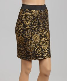 This Black & Gold Damask Skirt is perfect! #zulilyfinds