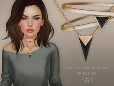 https://flic.kr/p/RE17X7 | BEO - Triangle Set | 100% Original Mesh Include 3 items: necklace and 2 chokers. Change via HUD: - Resize - Metal and stones colors - Glow, Shininess, Full bright  TAXI