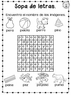 Cuadernillo para-primer-grado Learning Spanish For Kids, Teaching Spanish, Word Families, Word Search, Frases, Social Emotional Learning, Kids Writing, Printable Alphabet, Preschool Letters