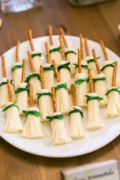 Edible broomsticks at a Harry Potter birthday party! See more party ideas at CatchMyParty.com!
