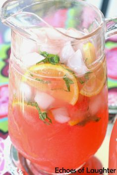 Echoes of Laughter: Delicious Basil Watermelon Lemonade Blueberry Lemonade Recipes, Strawberry Basil Lemonade, Watermelon And Lemon, Homemade Lemonade Recipes, Watermelon Lemonade, Album Design, Yummy Drinks, Healthy Drinks, Recipes