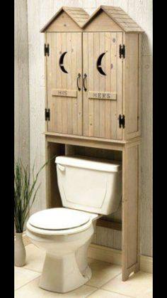 Outhouse Bathroom Decor, Rustic Bathroom Vanities, Rustic Bathrooms, Bathroom Storage, Bath Decor, Modern Bathroom, Small Bathroom, Behind Toilet Storage, Toilet Shelves