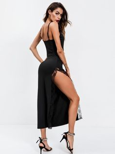 42cbf6978b0a2 Black Contrast Lace High Split Side Party Maxi Dress. Mesh Dress ...