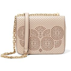 Tory Burch Zoey laser-cut leather shoulder bag (€220) ❤ liked on Polyvore featuring bags, handbags, shoulder bags, blush, pink shoulder bag, tory burch shoulder bag, tory burch handbags, pink handbags and leather handbags