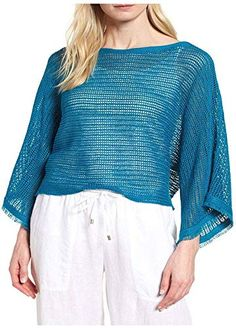 Eileen Fisher Turquoise Organic Linen Knit Bateau Neck Top Tunic Size M//M MSRP $188