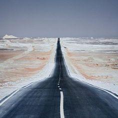 Road between Oasis of Bahariya and Farafra. Western Desert, Egypt.