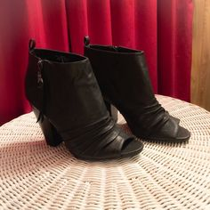 Sam & Libby peep toe ankle boots Women's Sam & Libby, Remus peep toe fashion Boot A fun and flirty peep-toe bootie style Man-made, faux leather upper with gathered accents Side zipper and pull-top Sturdy square 3 inch heel Sam & Libby Shoes