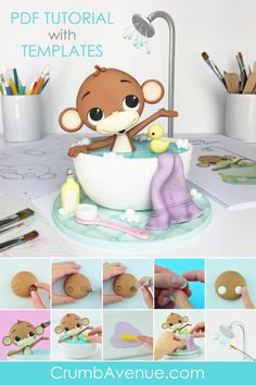 Monkey in a Bubble Bath - PDF Cake Topper TUTORIAL with TEMPLATES - fondant, gum paste, cute, kids, baby shower, birthday, idea, inspiration, figurine, jungle, animal, pictorial