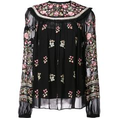 Needle & Thread floral embroidered blouse ($350) ❤ liked on Polyvore featuring tops, blouses, black, round neck blouse, colorful blouses, see through blouse, sheer long sleeve blouse and transparent top