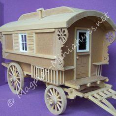 Miniature Gypsy Caravan Wagon Kit 12th Scale Dolls House Mini Caravan, Gypsy Caravan, Gypsy Wagon, Dioramas, Miniature Rooms, Miniature Houses, Fairy Houses, Doll Houses, Kids Castle