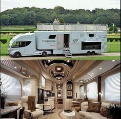 This Luxury RV Is Basically a Palace on Wheels. There are a lot of kinds of RVs out there. Big RVs have a lot of storage. RV Covers Protects promises to supply our clients with the greatest knowledg. Kombi Trailer, Camper Trailers, Horse Trailers, Travel Trailers, Luxury Motorhomes, Luxury Campers, Kombi Home, Camping Glamping, Camping Gear